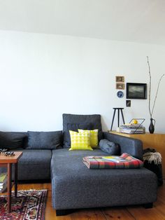 yellow in the living room! Held & Lykke pillow covers (made by Envelop)