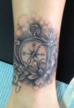 Black and white compass tattoo. Done at The Constable Tattoo Parlor
