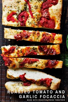 Delicious, thick, but light in texture, this tomato focaccia is flavoured and topped with garlic, herbs, olive oil and roasted tomatoes. Bread Recipes, Baking Recipes, Scd Recipes, Dinner Rolls Recipe, Roasted Tomatoes, Snacks, Bread Baking, Italian Recipes, Food To Make
