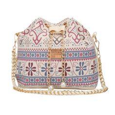 Antje Ladies Vintage Floral Shoulder Chain Cross-body Bucket Bag