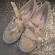 Bling Customised Wedding/bridal  Converse Dainty Ivory Pearl &crystal Sizes 3-8 Bridal Converse, Bling Converse, Ivory Pearl, Baby Items, Wedding Dress, Crystal, Fashion Outfits, Sneakers
