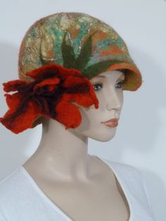 """Fearlessly stylish """"advanced style"""" asymmetric orange and mustard inner raised appliqué  soft boiled wool cloche style ladies hat   NEW by whitebagheera on Etsy"""