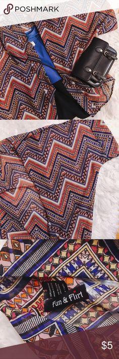 Dolman sleeve sheer printed kimono Size Small Fun colorful printed kimono by Fun&Flirt. Size small. Tops Tunics