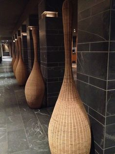 Wicker sculptures in Opus hotel's foyer, Montreal Hotel Foyer, Environmental Sculpture, Wicker Rocking Chair, Asian Interior Design, Hotel Reception, Hotel Interiors, Gadgets, Traditional Art, Basket Weaving
