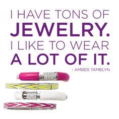 "lia sophia neon jewelry — ""Vertex"" & ""Technicolor"" stacked bangles. Quote by Amber Tamblyn."