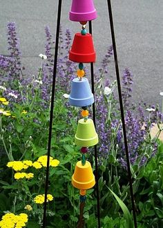 colorful clay pot garden art