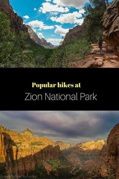 Zion National park in Utah - This post includes the most popular hikes and trails at Zion National park with details, skill level and images. For more pictures and highlights check out this post link http://travelphotodiscovery.com/visiting-zion-national-park-and-popular-hikes/