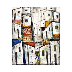 NOVICA Signed Modern Cityscape Painting in Acrylics on Canvas ($260) ❤ liked on Polyvore featuring home, home decor, wall art, backgrounds, expressionist paintings, paintings, white, canvas wall art, white canvas painting and portrait painting
