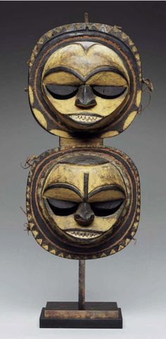 Africa | Double mask (enyi ima) from the Eket people of Nigeria | 19th - 20th century | Wood, pigment and fiber