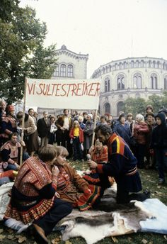 historyofnorway: Sami people protesting the plans to build a large scale hydropower plant over the famous Alta watercourse on October 10th 1979. They argued that that plant would have had huge negative ramifications on their reindeer herding. The Alta case was a long political conflict in Norway that lasted from 1969-1982 We're on a hunger strike!