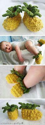 Pineapple Baby Booties - crocheted cotton/acrylic blend yarn - yellow & green - fruit crochet booties (family gifts for kids) Crochet Baby Booties, Crochet Slippers, Knit Crochet, Knit Baby Shoes, Kids Slippers, Knitted Baby Clothes, Baby Girl Crochet, Boy Shoes, Cotton Crochet