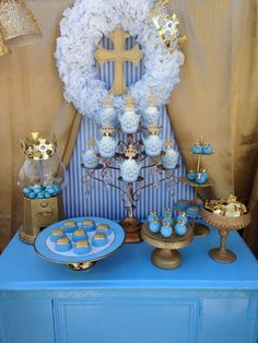 Lovely dessert table and backdrop at a royal blue baptism! See more party planning ideas at CatchMyParty.com!