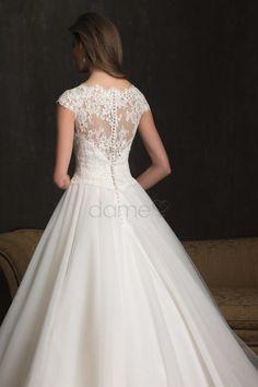 Prinzessin kurze Ärmel gekappte Ärmel Spitze Satin aufgeblähtes volle länge Brautkleider