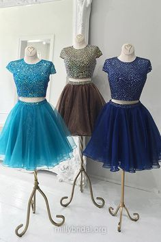Cheap Short Prom Dresses,Princess Scoop Neck Cocktail Party Dress,Organza Short Graduation Dress,Crystal Detailing Sexy Homecoming Dresses, Two Piece Girls Gowns