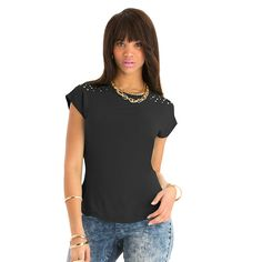 74a6ac94274 Nicki Minaj Women s Plus Studded Top w  Cut Out Back Out Back