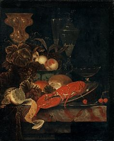 Ottmar Elliger the Elder (Swedish, 1633–1679) Title: Still life with a lobster and fruits , 1665
