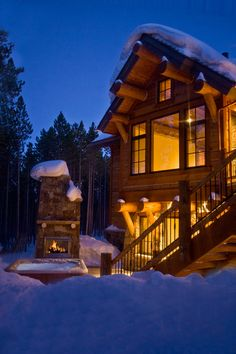 Cabin + hot tub + outdoor fireplace = my idea of heaven