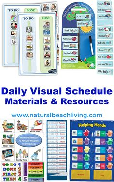 Perfect Daily Visual Schedule Materials & Resources, Autism and special needs charts, homeschool schedule,behavior chart, chore charts, home command center