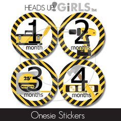 Custom Monthly Onesie Stickers with Construction Tools Photo Props for Baby Boys. $8.00, via Etsy.