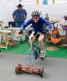 There we were, ruminating on just what gizmos creative minds will dream up to win fame and glory (plus cash and bike) in the Specialized Innovate or Die competition, and in a totally unrelated web search, happened upon the 'B.O.B. Mower,' which looks