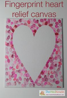 family fingerprint relief heart art canvas or valentine's day card for dad