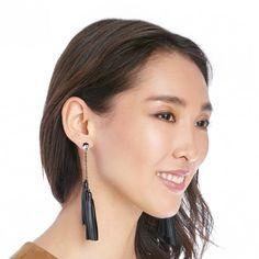 Black | Linear Tassel Earrings | Free Shipping on Orders $50+