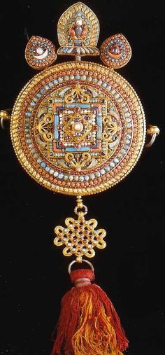 Royal standard, silver gilt, coral turquoise, pearls rubies adn semi precious stones 19th c Nepal