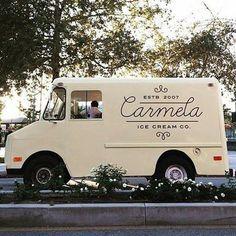 Logo design food truck script Carmela Ice Cream Co. Food Trucks, Food Design, Food Truck Design, Design Ideas, Foodtrucks Ideas, Coffee Van, Food Vans, Ice Cream Van, Cream Car