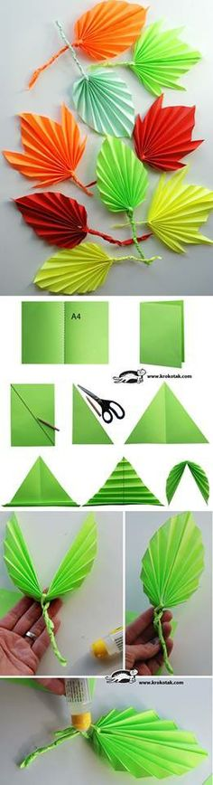 DIY paper leaves tutorial , paper flowers paper in half draw diagonal cut along diagonal.use 2 loose triangles to twist into vine open symmetrical triangle and fold leave if folded, twist paper vine or pipecleaner into middle open and tape Origami Paper, Paper Quilling, Diy Paper, Paper Crafting, Paper Art, Fun Origami, Oragami, Flower Crafts, Diy Flowers
