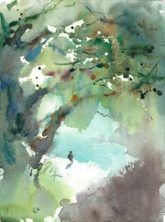 Landscape watercolor with greens