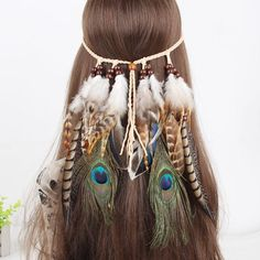 da260e0655b Gypsy Indian Hippie Bohemian Feather Hair Band Headwear