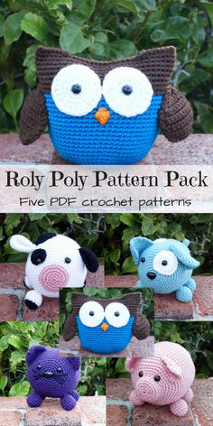 Love these cute roly poly amigurumi crochet pattern animals! The pig is adorable! Lots of fun and a great price for 5 pdf crochet patterns! #etsy #ad