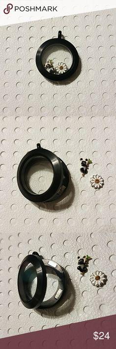 Origami owl medium locket Medium black magnetic locket with 2 charms. Origami Owl Jewelry Necklaces