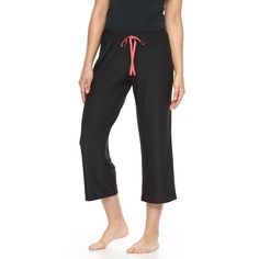 Women's Apt. 9® Pajamas: Monique Border Solid Crop Pajama Pants, Size: