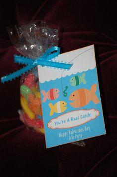 VALENTINE IDEA  Fish Themed Printable Valentines Cards. $3.00, via Etsy.