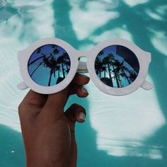 sunglasses cool yaass hipster stuff pool party white pool water colorful palm tree print purple retro hepburn vintage fashion white sunglasses glasses sun sunny reflection turquoise shiny holidays summer spring teenagers cute tumblr chanel retro round sun