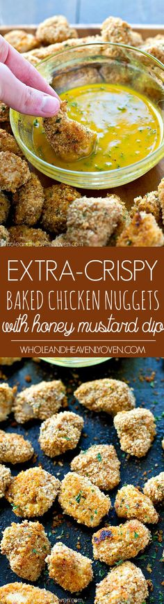 These addicting chicken nuggets are SO extra-crispy on the outside, you won't believe that they're oven-baked! Dip 'em in a tangy honey mustard dip for the best Superbowl appetizer ever. Baked Chicken Nuggets, Crispy Baked Chicken, Easy Chicken Recipes, Turkey Recipes, Chicken Meals, Chutney, Appetizer Recipes, Appetizers, Snack Recipes