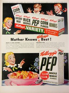 1948 Kellogs Cereal Vintage Advertisement by RelicEclectic #RelicEclectic #VintageAd #KitchenWallArt