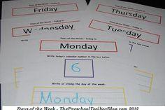 Days of the Week Free Printable for #Preschool & #Kindergarten