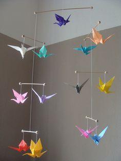 Mobile Origami *Kranich* bunt