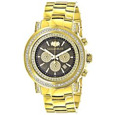 Luxurman Men's 'Escalade' Yellow Goldplated 2.5ct Diamond Bezel Watch