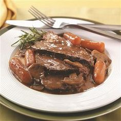 Beef Roast with Gravy Recipe -I always asked Mom to fix this for special occasions just to smell the aroma of that rich gravy as it cooked. —Nancy Kreiser, Lebanon, Pennsylvania