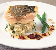 Grilled sea bass, crushed Jersey Royals and sauce vierge