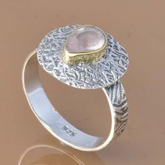 925 SOLID STERLING SILVER EXCLUSIVE ROSE QUARTZ RING 3.74g DJR7376 #Handmade #Ring