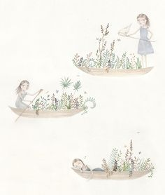 Canoes by Julianna Swaney, via Flickr  Here is another new piece for my show at Lille Boutique, which opens tonight!