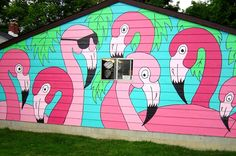 Painted garage wall in Indiana! Submitted by a Completely Coastal reader. To sea more painted walls, click here: http://www.completely-coastal.com/2013/08/painted-houses-exterior-home-painting-ideas.html