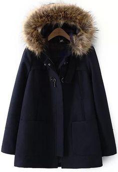 Abrigo de lana con capucha bolsillos-azul marino 47.25