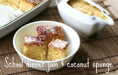 Dinner Jam and Coconut Cake WagDolls adventures in fitness, fashion, sewing and everyday minutiaeWagDolls adventures in fitness, fashion, sewing and everyday minutiae Jam And Coconut Cake, Coconut Sponge Cake, Coconut Cakes, Tray Bake Recipes, Baking Recipes, Dessert Recipes, Baking Ideas, Easy Desserts, Delicious Desserts