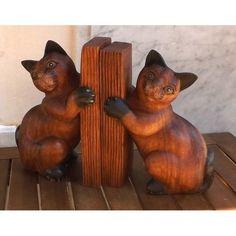 Fermalibri Reggilibri Gatti in legno di tamarindo scultura