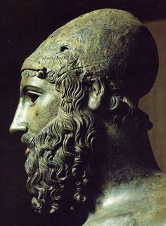 """Head of Riace Warrior B, discovered off the coast of Calabria, Italy, in 1972. Dated to ca. 460-450 B.C. """""""